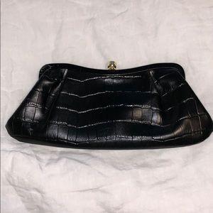 Banana Republic crocodile black leather clutch